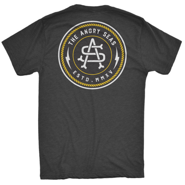 "Product: ""Captain's Mark"" Tri-Blend T-Shirt // Description: Angry Seas tee with monogram badge silkscreened design // Color: Vintage Black // Brand: The Angry Seas Clothing"