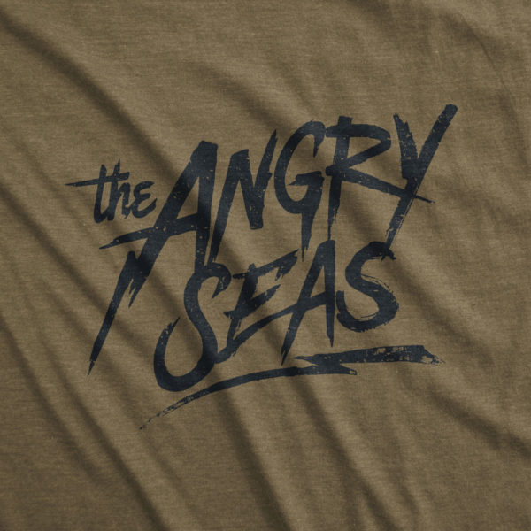 "Product: ""Lightning Strike"" Tri-Blend T-Shirt // Description: Angry Seas tee with monogram in off white silkscreened design // Color: Military Green // Brand: The Angry Seas Clothing"