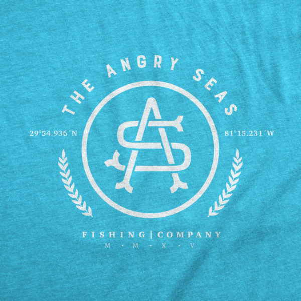 "Product: ""GPS"" Tri-Blend T-Shirt // Description: Angry Seas tee with classic monogram silkscreened design // Color: Vintage Turquoise // Brand: The Angry Seas Clothing"