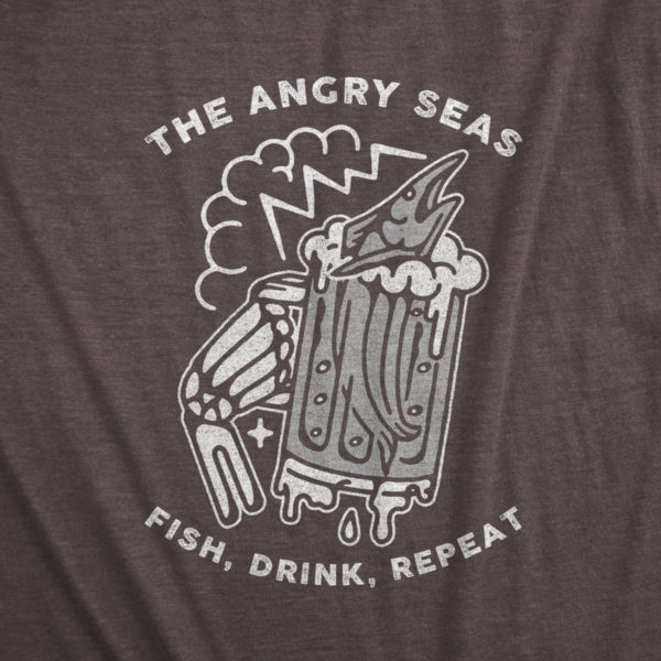 "Product: ""FISH DRINK REPEAT"" Tri-Blend T-Shirt // Description: Angry Seas drunken marlin in a beer glass held by skeleton hand design silkscreened on tee // Color: Macchiato // Brand: The Angry Seas Clothing"
