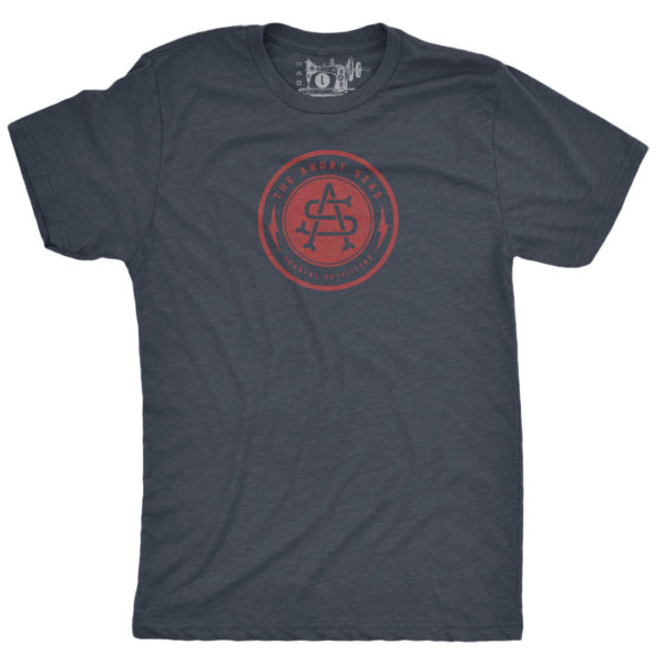 "Product: ""Bolt Badge"" Tri-Blend T-Shirt // Description: Angry Seas tee with monogram in crimson silkscreened design // Color: Vintage Navy // Brand: The Angry Seas Clothing"