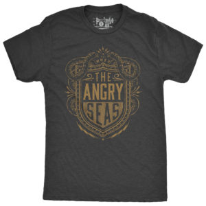 "Product: ""Electric Shield"" Tri-Blend T-Shirt // Description: Angry Seas tee with electric eels and shield surrounded by lightning bolts silkscreened design // Color: Vintage Black // Brand: The Angry Seas Clothing"