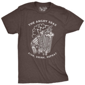"Product: ""FISH, DRINK, REPEAT"" Tri-Blend T-Shirt // Description: Angry Seas drunken marlin in a beer glass held by skeleton hand design silkscreened on tee // Color: Macchiato // Brand: The Angry Seas Clothing"