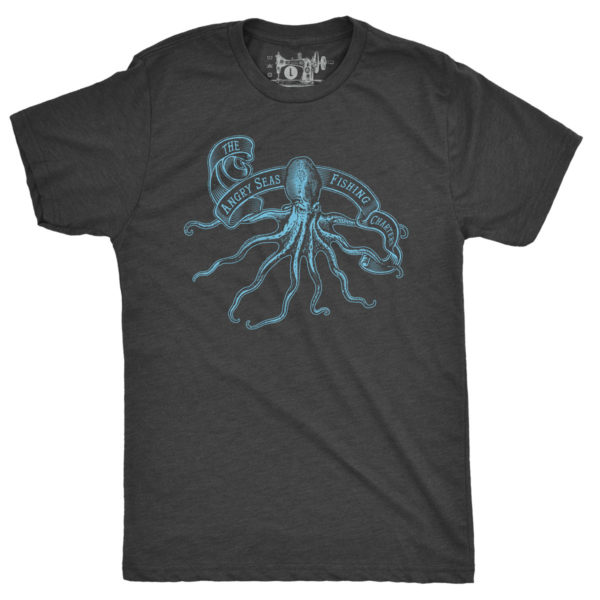 "Product: ""Kraken"" Tri-Blend T-Shirt // Description: Angry Seas tee with octopus silkscreened design // Color: Vintage Black // Brand: The Angry Seas Clothing"