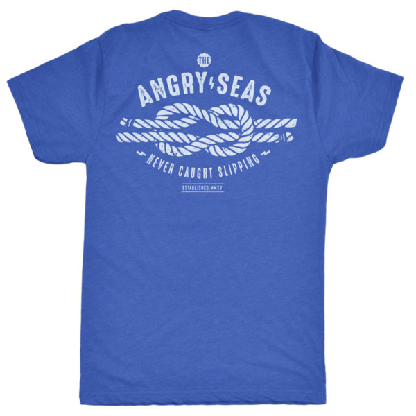 "Product: ""KEEP IT TIGHT"" Tri-Blend T-Shirt // Description: Angry Seas NEVER SLIPPIN' design silkscreened on tee // Color: Vintage Royal Blue // Brand: The Angry Seas Clothing"