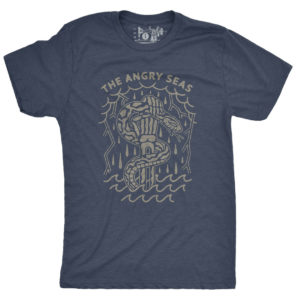 "Product: ""Snake Bite"" Tri-Blend T-Shirt // Description: Angry Seas tee features a fistful of snake design silkscreened on tee // Color: Vintage Indigo // Brand: The Angry Seas Clothing"