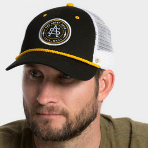"Product: ""Captain's Hat"" Snapback Hat // Description: Low Profile mesh snapback hat with embroidered monogram logo patch // Color: Black // Brand: The Angry Seas Clothing"