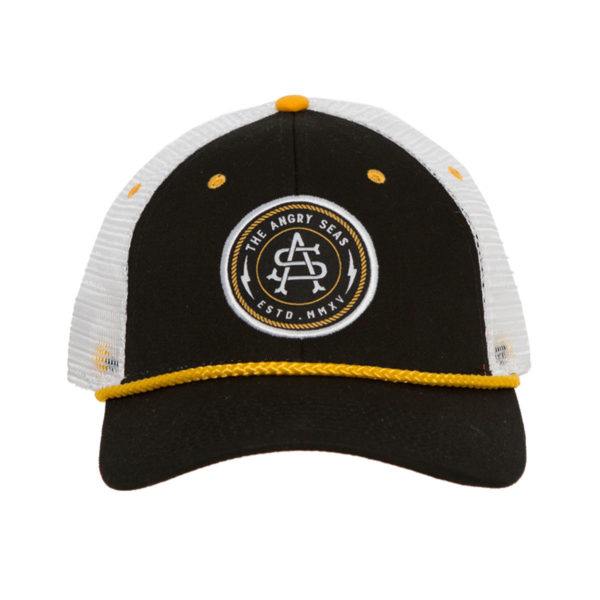 """Product: """"Captain's Hat"""" Snapback Hat // Description: Low Profile mesh snapback hat with embroidered monogram logo patch // Color: Black // Brand: The Angry Seas Clothing"""