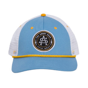 "Product: ""Captain's Hat"" Snapback Hat // Description: Low Poriflel mesh snapback hat with embroidered logo patch // Color: Light Blue // Brand: The Angry Seas Clothing"