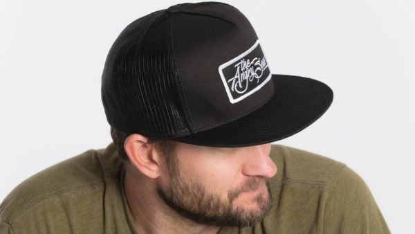"Product: ""Flat Seas"" Snapback Hat // Description: Flat Bill mesh snapback hat with embroidered logo patch // Color: Black // Brand: The Angry Seas Clothing"