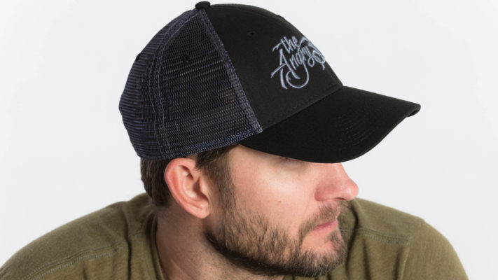 "Product: ""3D Script  Low"" Low Profile Hat with Mesh Snapback // Description: Angry Seas Script 3D embroidered design // Color: Black on Black // Brand: The Angry Seas Clothing"