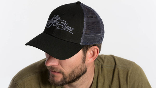 "Product: ""3D Script"" Low Low Profile Hat with Mesh Snapback // Description: Angry Seas Script 3D embroidered design // Color: Black on Black // Brand: The Angry Seas Clothing"