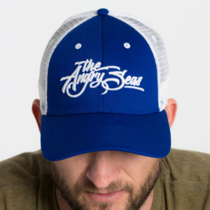 "Product: ""3D Script"" Low Profile Hat with Mesh Snapback // Description: Angry Seas Script 3D embroidered design // Color: Royal Blue & White // Brand: The Angry Seas Clothing"