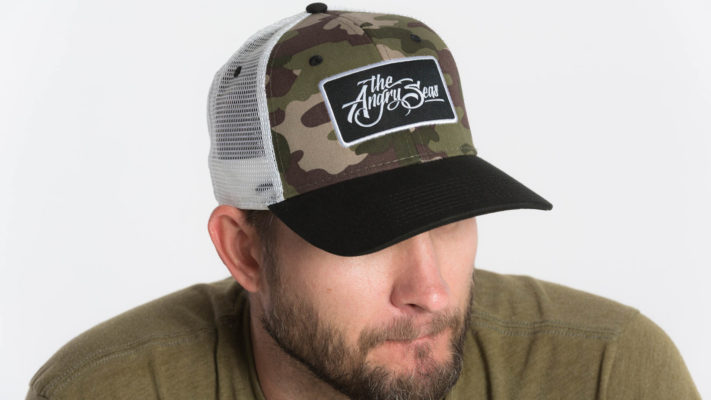 """Product: """"Ture Script"""" Snapback Hat // Description:  Semi-Curved Bill mesh snapback hat with woven label appliqué // Color: Khaki on White // Brand: The Angry Seas Clothing"""