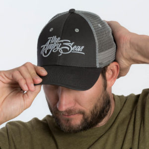 "Product: ""3D Script"" Low Low Profile Hat with Mesh Snapback // Description: Angry Seas Script 3D embroidered design // Color: Charcoal // Brand: The Angry Seas Clothing"