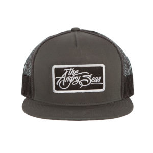 "Product: ""Flat Seas"" Snapback Hat // Description: Flat Bill mesh snapback hat with embroidered logo patch // Color: Charcoal // Brand: The Angry Seas Clothing"