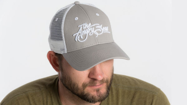 "Product: ""3D Script"" Low Profile Hat with Mesh Snapback // Description: Angry Seas Script 3D embroidered design // Color: Light Grey & White // Brand: The Angry Seas Clothing"
