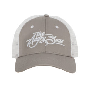 """Product: """"3D Script"""" Low Profile Hat with Mesh Snapback // Description: Angry Seas Script 3D embroidered design // Color: Light Grey & White // Brand: The Angry Seas Clothing"""