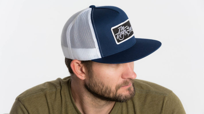 "Product: ""Flat Seas"" Snapback Hat // Description:  Flat Bill mesh snapback hat with embroidered logo patch // Color: Blue & White // Brand: The Angry Seas Clothing"