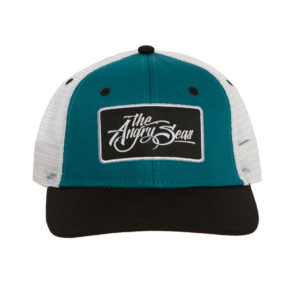 "Product: ""Ture Script"" Snapback Hat // Description: Semi-Curved Bill mesh snapback hat with woven label appliqué // Color: Teal on White // Brand: The Angry Seas Clothing"