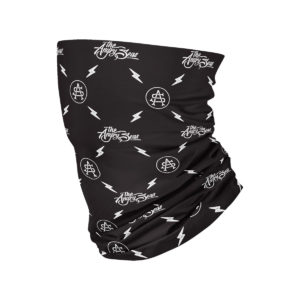 "Product: ""Neck Gaiter Sunshield "" // Description: Angry Seas Script & Monogram pattern design // Color: Black & White // Brand: The Angry Seas Clothing"