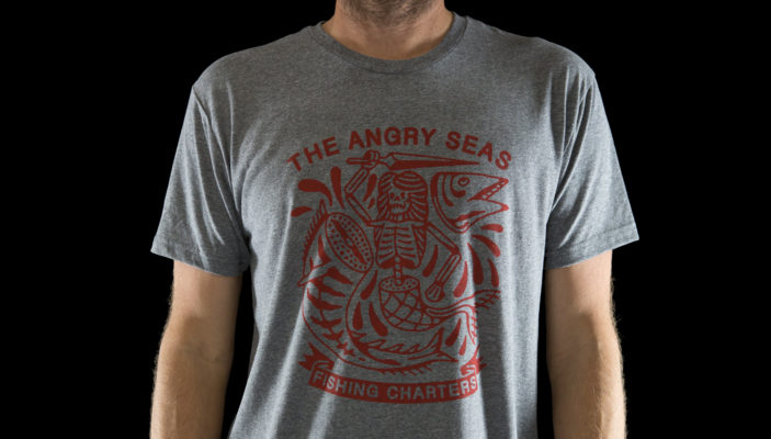 "Product: ""SIREN'S SONG"" Tri-Blend T-Shirt // Description: Angry Seas skeleton mermaid cutting wahoo in half silkscreened design // Color: Premium Heather // Brand: The Angry Seas - Fishing Apparel"