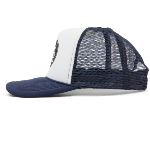"""Product: """"Monogram"""" Trucker Hat // Description: Foam Trucker mesh snapback hat with screen-printed logo // Color: Blue // Brand: The Angry Seas Clothing"""