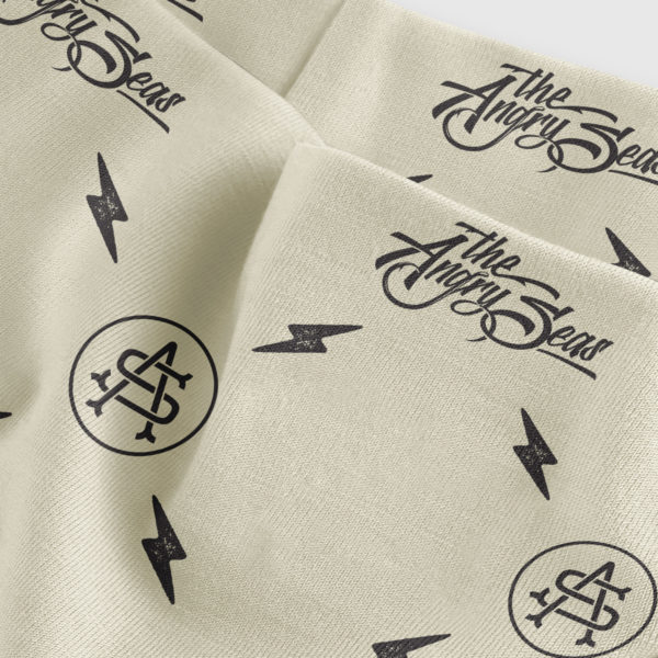 """Product: """"Neck Gaiter Sunshield """" // Description: Angry Seas Script & Monogram pattern design // Color: Tan & Black // Brand: The Angry Seas Clothing"""