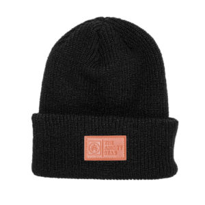 "Product: ""NIGHT WATCH"" Beanie // Description: Knit beanie with logo embossed leather patch // Color: Black // Brand: The Angry Seas Clothing"
