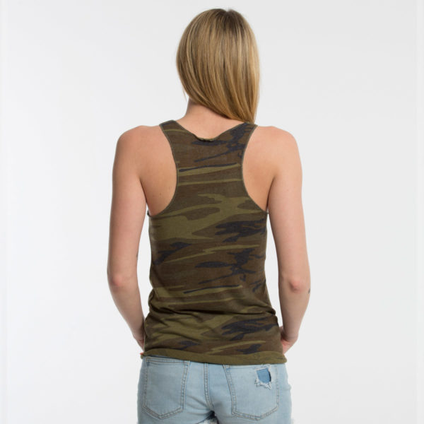 "Product: ""A-TEAM"" Tank Top // Description: Women's Racerback Tank Top // Color: Vintage Camo // Brand: The Angry Seas Clothing"