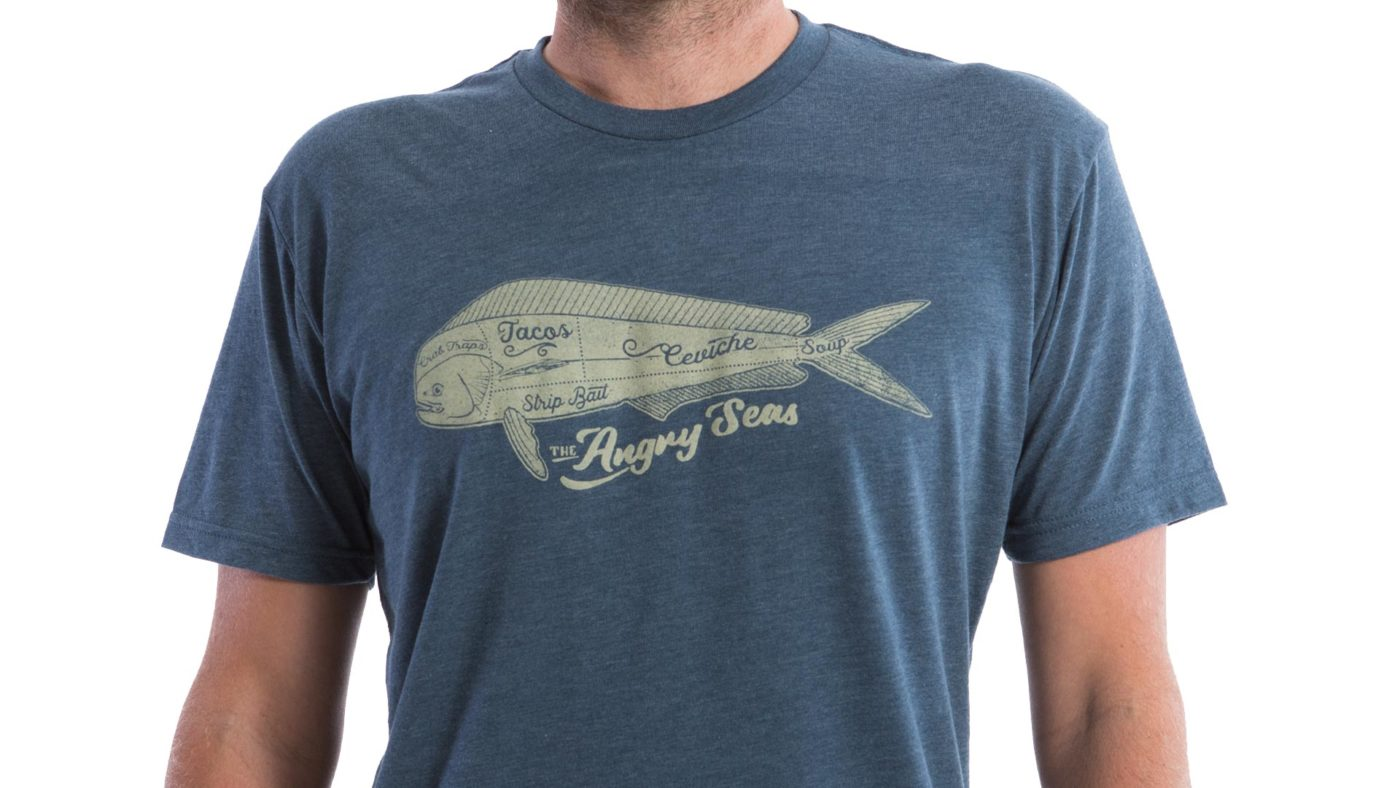 "Product: ""Mahi Cuts"" Tri-Blend T-Shirt // Description: Angry Seas tee with monogram in off white silkscreened design // Color: Vintage Navy // Brand: The Angry Seas Clothing"
