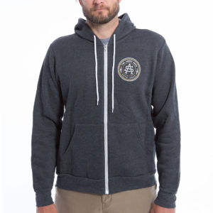 "Product: ""Captains Monogram Design"" // Description: Front Zip Hooded Sweatshirt with Angry Seas Captain's Monogram screen printed graphic // Color: Charcoal // Brand: The Angry Seas Clothing"