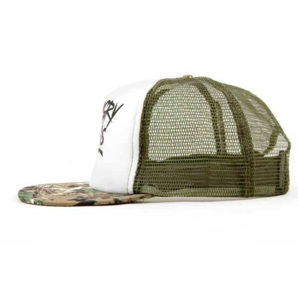 """Product: """"Lightning Strike"""" Snapback Hat // Description: Flat Bill mesh snapback hat with silkscreen logo // Color: Camo and White // Brand: The Angry Seas Clothing"""