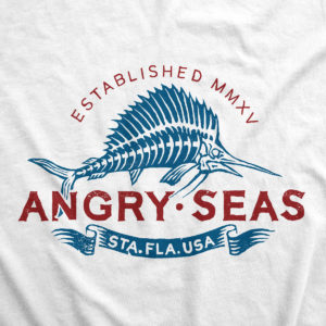 "Product: ""Bill Collector"" 50/50 T-Shirt // Description: Angry Seas tee with skeleton marlin silkscreened design // Color: White // Brand: The Angry Seas Clothing"
