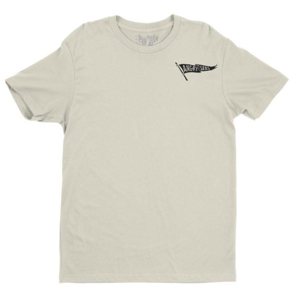 "Product: ""Black Flag"" 50/50 T-Shirt // Description: Angry Seas tee with raise the flag silkscreened design // Color: Sand // Brand: The Angry Seas Clothing"