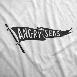 "Product: ""Black Flag"" 50/50 T-Shirt // Description: Angry Seas tee with raise the flag silkscreened design // Color: White // Brand: The Angry Seas Clothing"