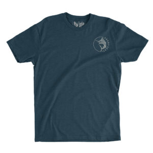 "Product: ""Circle Marlin"" Tri-Blend T-Shirt // Description: Angry Seas tee with jumping marlin silkscreened design // Color: Vintage Navy // Brand: The Angry Seas Clothing"