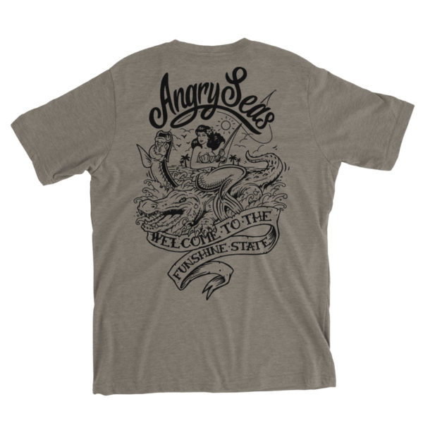 "Product: ""Funshine"" Tri-Blend T-Shirt // Description: Angry Seas tee with Florida silkscreened design // Color: Pewter // Brand: The Angry Seas Clothing"