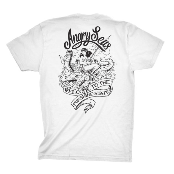 "Product: ""Funshine"" 50/50 T-Shirt // Description: Angry Seas tee with Florida silkscreened design // Color: White // Brand: The Angry Seas Clothing"