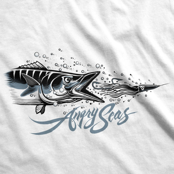 "Product: ""High Speed"" 50/50 T-Shirt // Description: Angry Seas tee with high speed wahoo lure silkscreened design // Color: White // Brand: The Angry Seas Clothing"